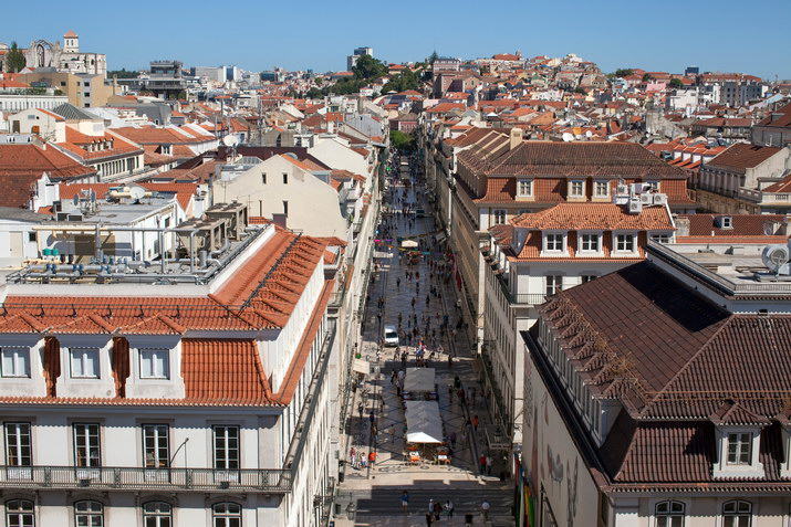 Aerial view of Rua Augusta, Lisbon